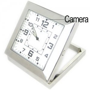 Silvery Square Alarm Clock Design Mini Spy Camera with 1/4 COMS Image Sensor